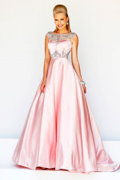 formal a line princess bateau neck v back long pink satin