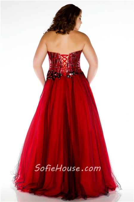 Formal A Line Strapless Long Red Sequins Tulle Plus Size Evening ...