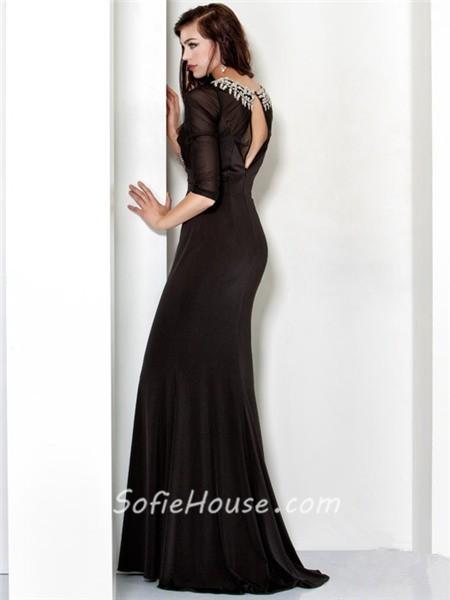 27aa0dbe9de9 Formal Mermaid Long Black Chiffon Beading Evening Dress Cut Out Back