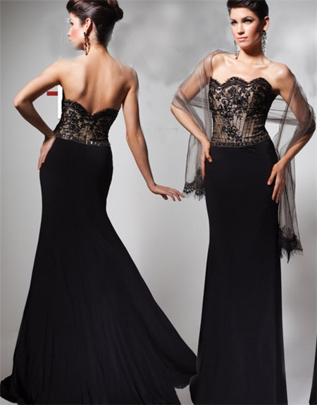 Formal Mermaid Strapless Scalloped Long Black Lace Chiffon