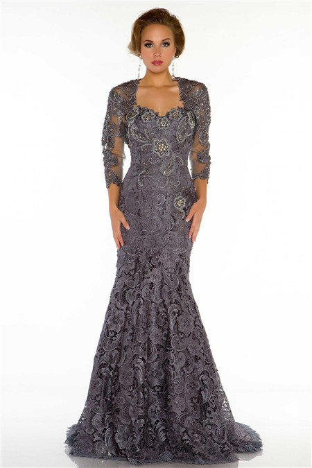 Formal Mermaid Sweetheart Long Charcoal Grey Lace Beaded Evening