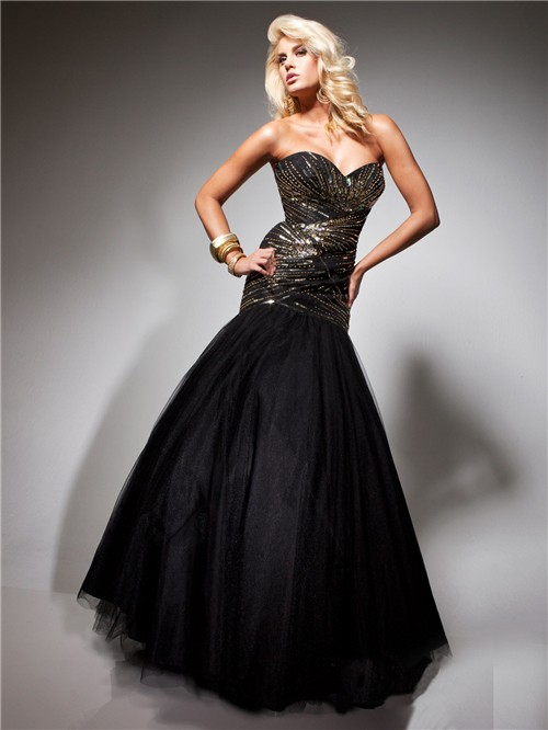 Formal Mermaid Sweetheart Long Gold Beading Black Tulle