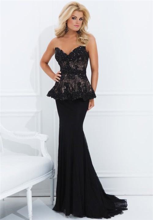 Formal Mermaid Sweetheart Neckline V Back Long Black Lace Peplum Evening Dress