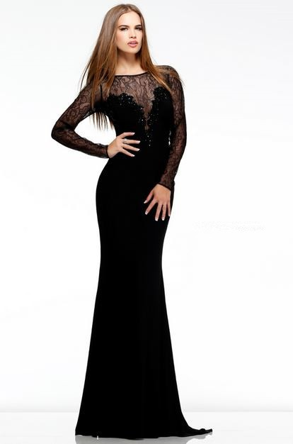 Sheath Illusion Sheer Neckline Long Black Chiffon Lace Evening ...