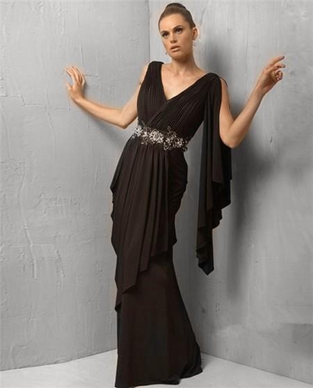 Sheath V Neck Long Black Chiffon Evening Dress With Ruffles