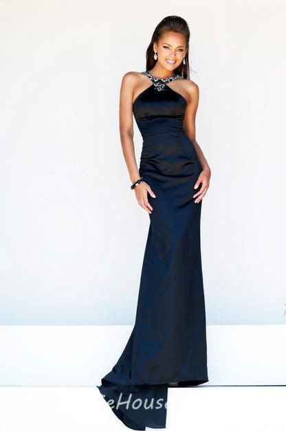 Formal Slim Sheath Halter Long Black White Satin Evening Prom Dress ...