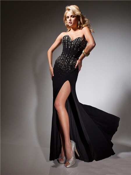 Sweetheart Long Black Chiffon Beaded Corset Evening Prom Dress ...