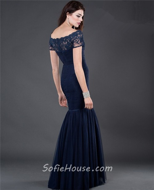 Formal modest mermaid long navy blue chiffon evening dress with ...