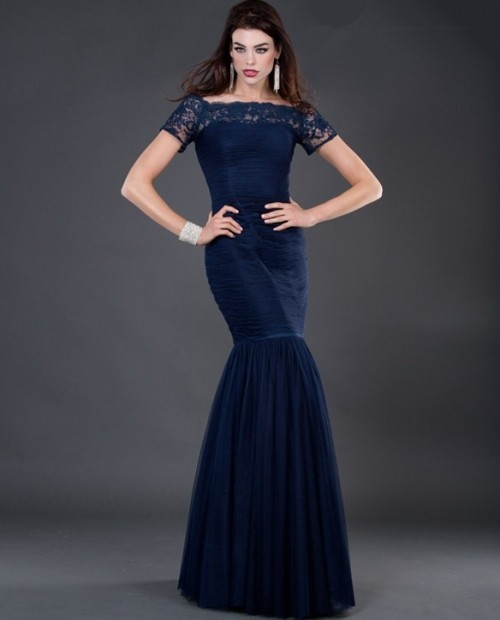 modest mermaid long navy blue chiffon evening dress with lace sleeve