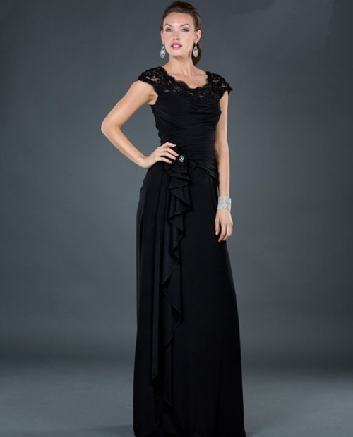 modest sheath long black chiffon evening dress with lace beaded