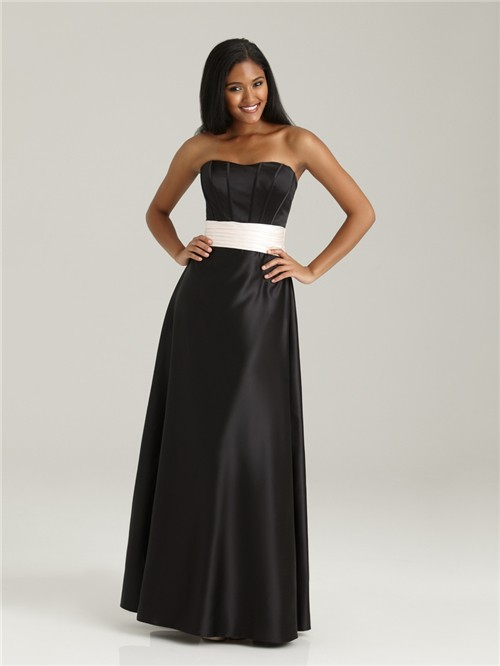sweetheart floor length long black silk bridesmaid dress with sash