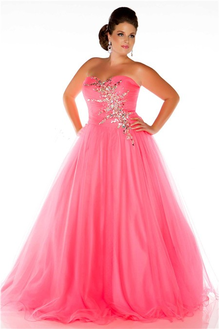 Glamorous A Line Strapless Long Neon Coral Tulle Beaded Plus Size