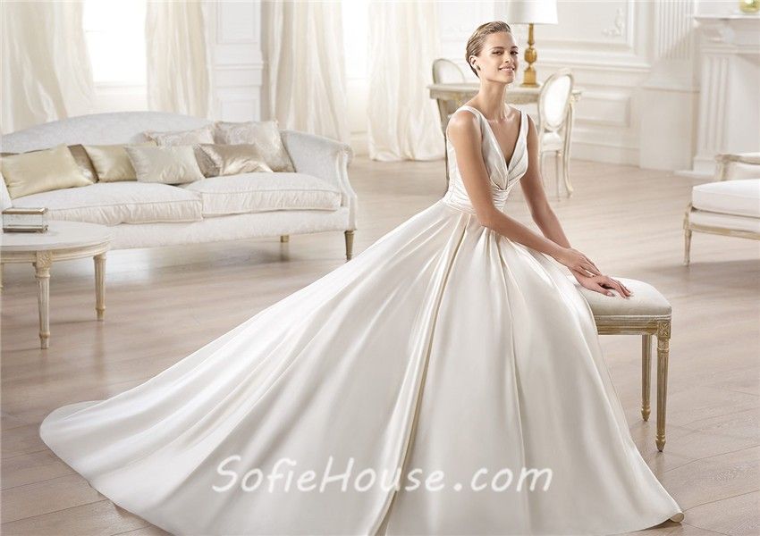 A Line Wedding Dress: Glamorous Princess A Line V Neck Open Back Satin Wedding