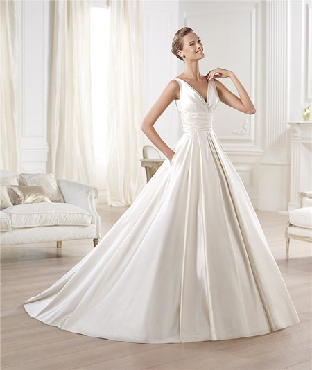 Glamorous princess a line v neck open back satin wedding for V neck satin wedding dress