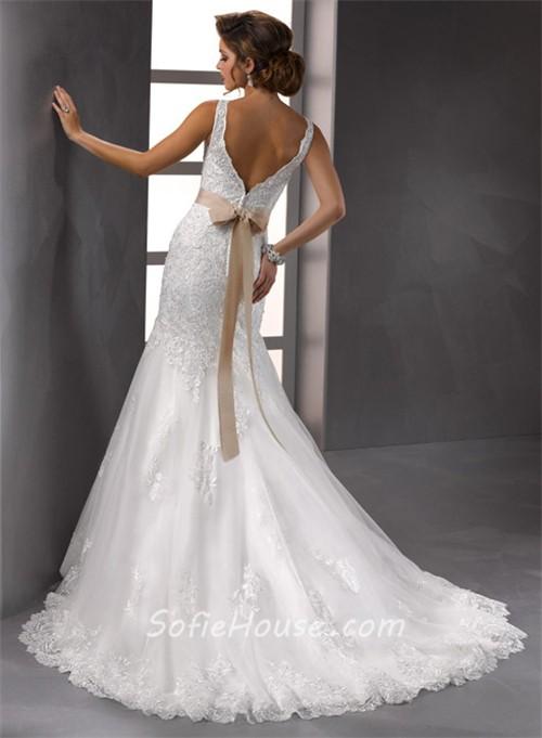 Glamorous trumpet mermaid straps v neck beaded lace for Belt for lace wedding dress