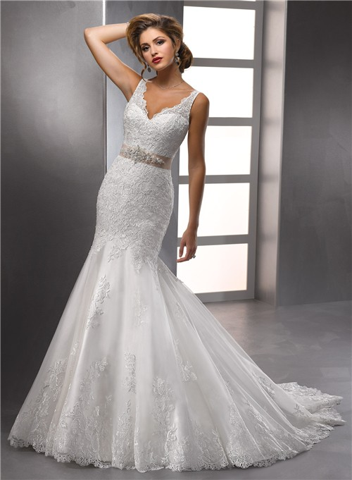 Trumpet/ Mermaid Straps V neck Beaded Lace Wedding Dress With ...