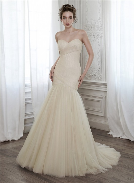 Glamour mermaid strapless champagne color tulle ruched for Champagne color wedding dresses