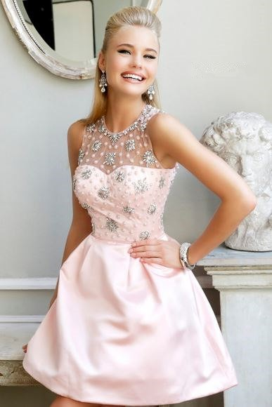 Gorgeous A Line Illusion Neckline Short Baby Pink Satin Beaded Prom Dress Open Back