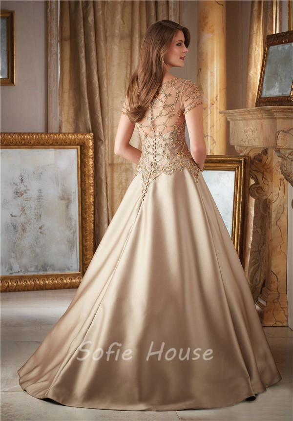 Gorgeous A Line Long Gold Satin Tulle Beaded Formal