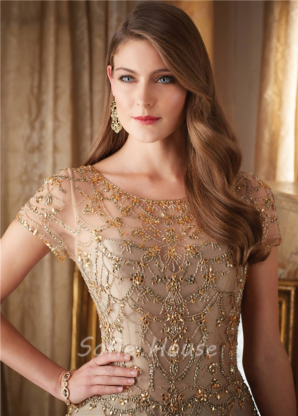 Gorgeous A Line Long Gold Satin Tulle Beaded Formal Occasion Evening