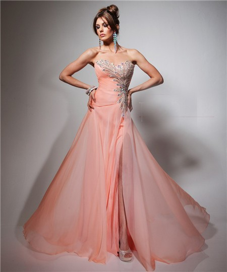 a line chiffon sweetheart long dress pink