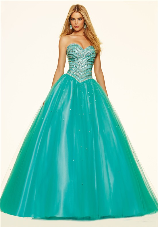 Gorgeous Ball Gown Drop Waist Turquoise Tulle Beaded Prom Dress ...