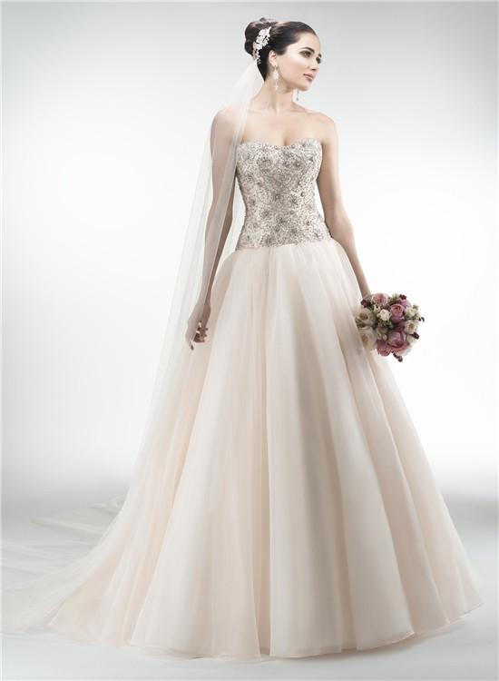 Gorgeous ball gown strapless drop waist organza heavy for Drop waist ball gown wedding dress