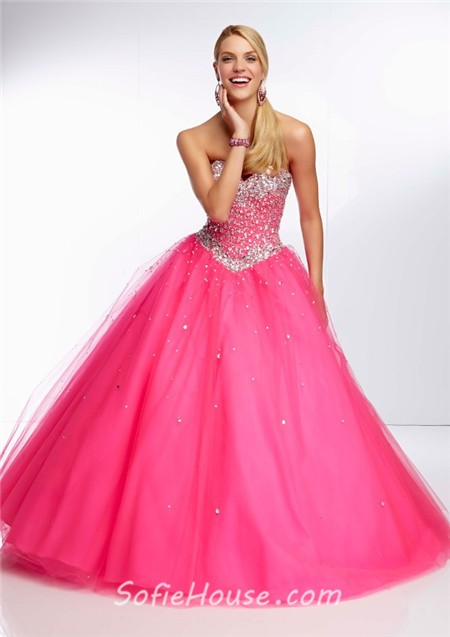 9c4ea22249b Gorgeous Ball Gown Sweetheart Long Orange Tulle Beaded Prom Dress Corset  Back