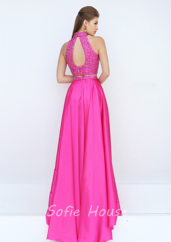 Gorgeous Halter High Slit Two Piece Long Hot Pink Satin Beaded Prom ...