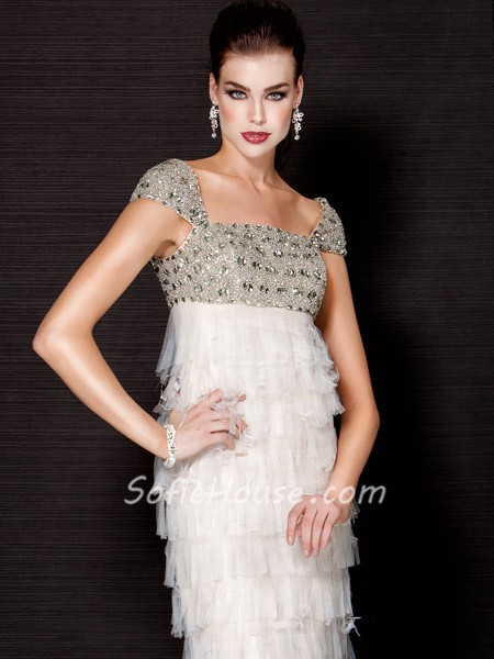 Gorgeous Mermaid Cap Sleeve Empire Waist Long White Tiered Tulle ...