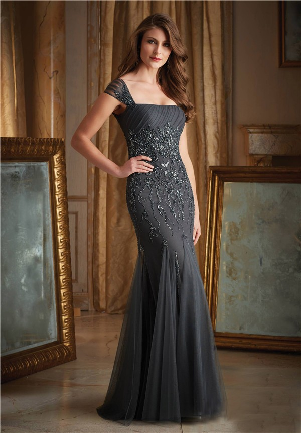 Mermaid Charcoal Grey Tulle Beaded Evening Dress With Cap Sleeves ...