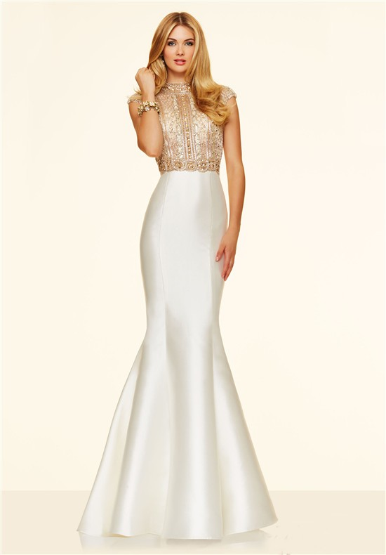 Gorgeous Mermaid High Neck Cap Sleeve White Taffeta Gold Beaded Prom ...
