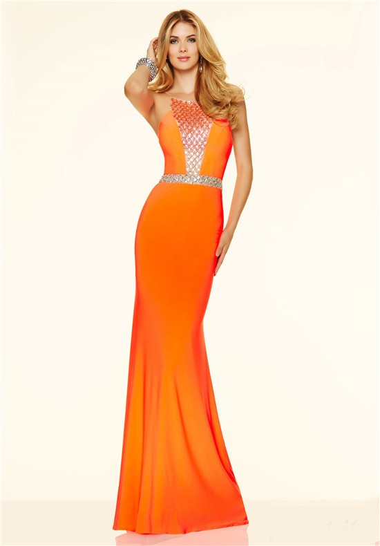 Mermaid Long Orange Beaded Evening Prom Dress With Spaghetti Straps