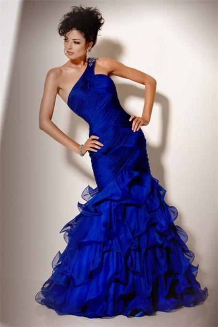 Gorgeous Mermaid One Shoulder Long Royal Blue Chiffon ...