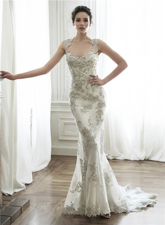 Gorgeous mermaid queen anne neckline backless applique for Queen anne neckline wedding dress
