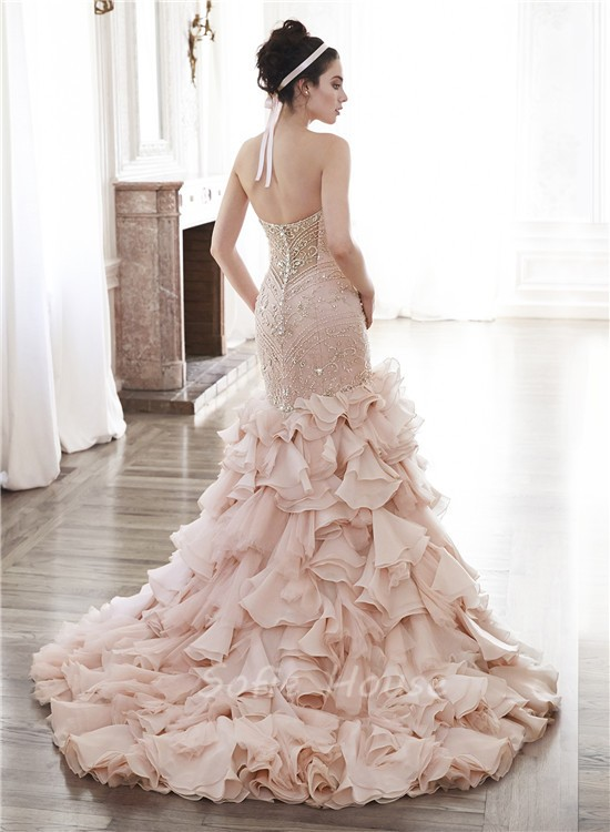 Gorgeous Mermaid Strapless Blush Pink Organza Ruffle Crystal Beaded ...