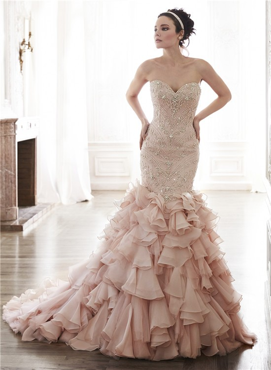 Mermaid Strapless Blush Pink Organza Ruffle Crystal Beaded Wedding Dress