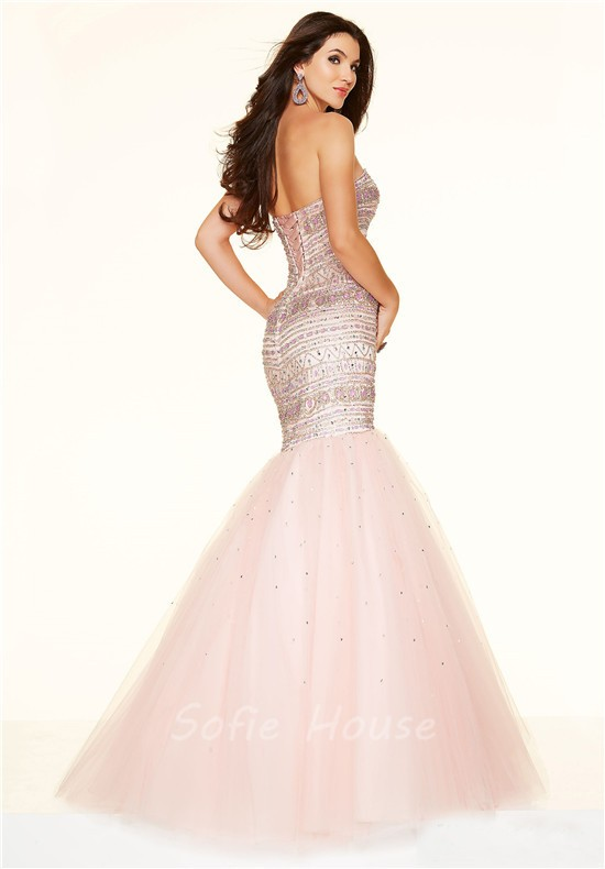 Gorgeous Mermaid Strapless Corset Light Pink Satin Tulle Beaded Prom ...