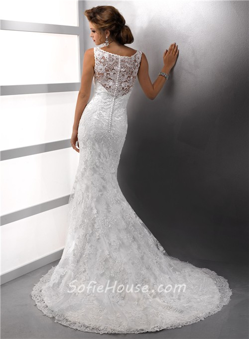 Gorgeous mermaid straps lace wedding dress with sequins for Lace button back wedding dress