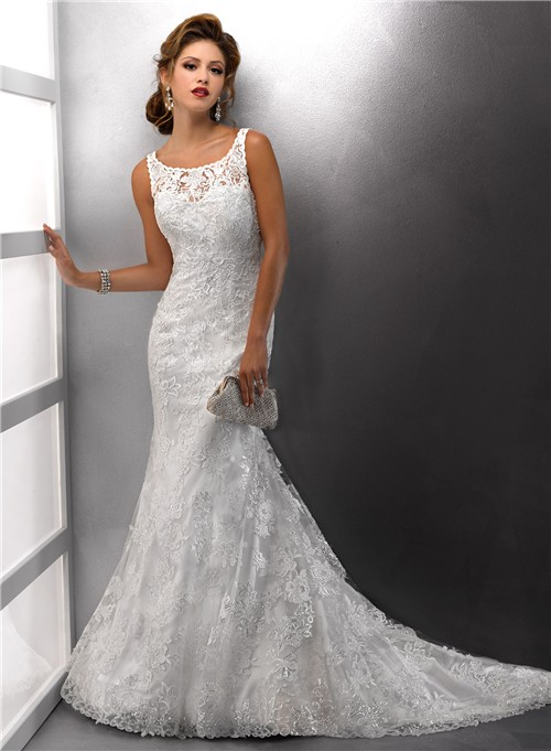 Gorgeous Mermaid Straps Lace Wedding Dress With Sequins Ons