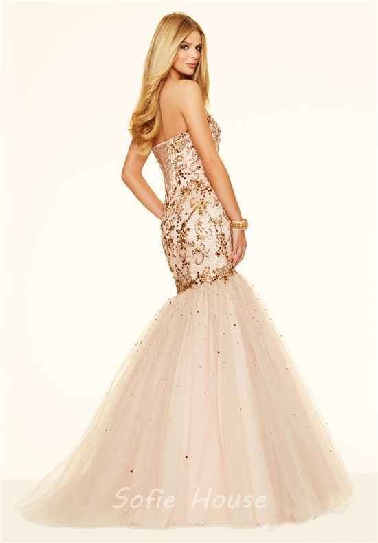Gorgeous Mermaid Sweetheart Champagne Satin Tulle Gold