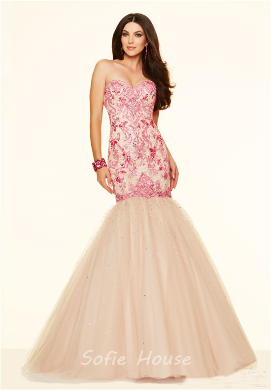 Light teal prom dress