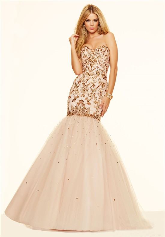 Champagne Corset Prom Dress