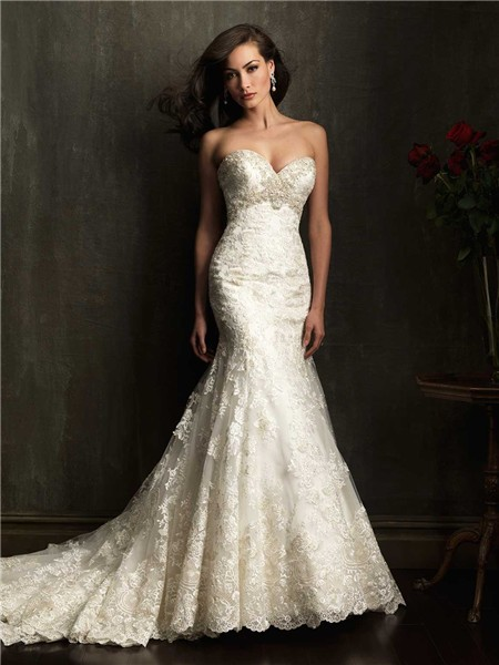 Mermaid Sweetheart Chapel Train Ivory Lace Beaded Wedding Dress ...