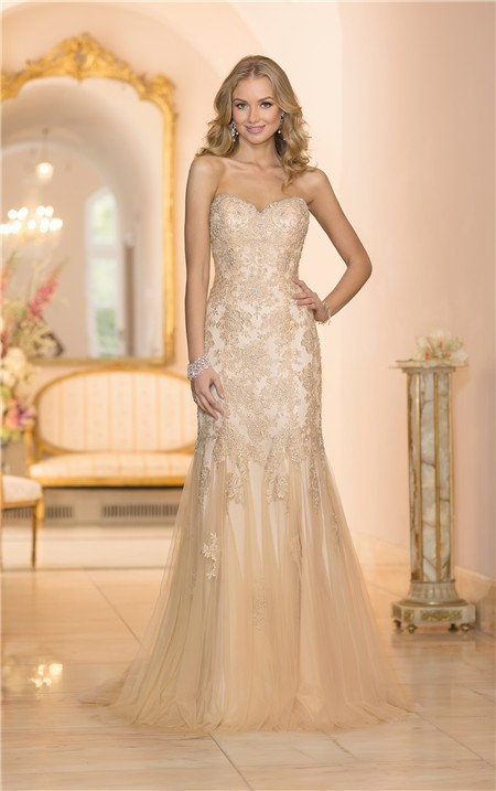 gorgeous mermaid sweetheart gold colored tulle lace beaded