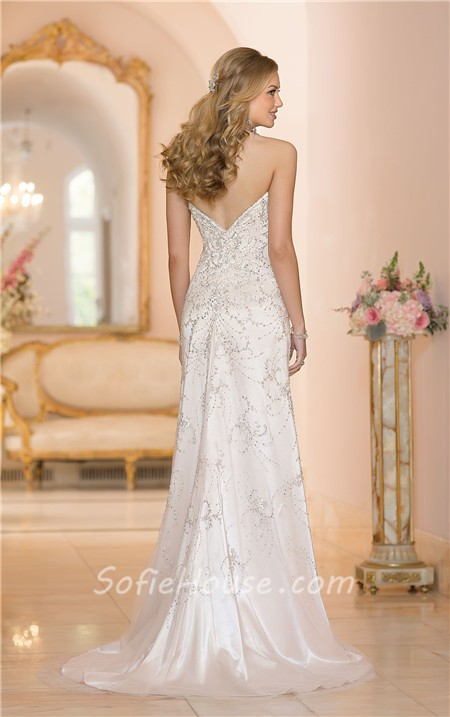 Gorgeous mermaid sweetheart low back satin tulle crystal for Beaded low back wedding dress