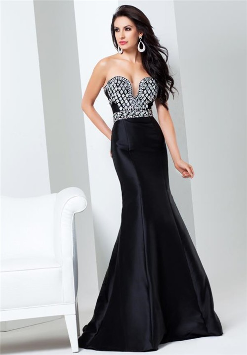 Gorgeous Mermaid Sweetheart Neckline Black Taffeta Beaded Evening ...