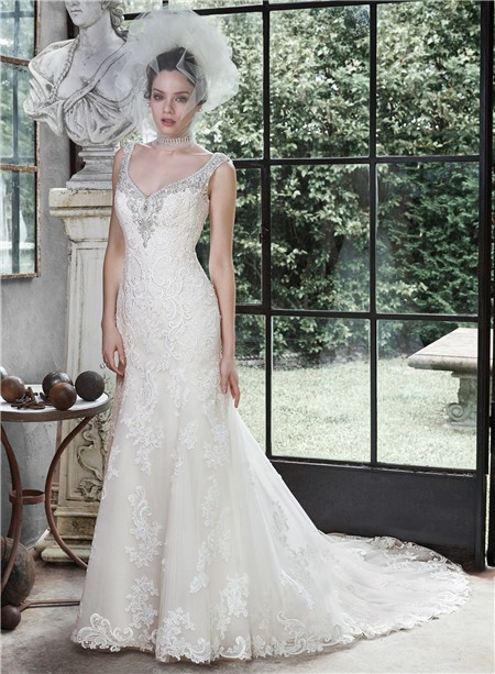 Gorgeous Mermaid Sweetheart Open Back Vintage Lace Wedding Dress ...