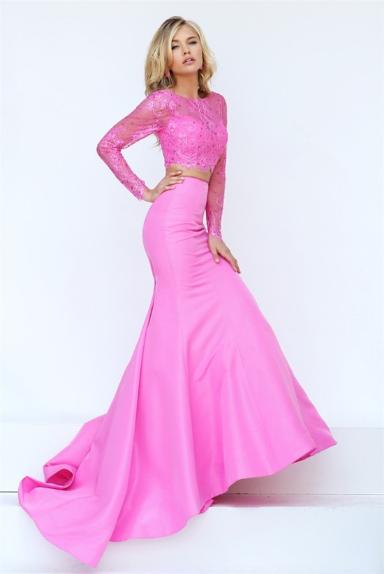 Gorgeous Mermaid Two Piece Pink Satin Lace Beaded Prom