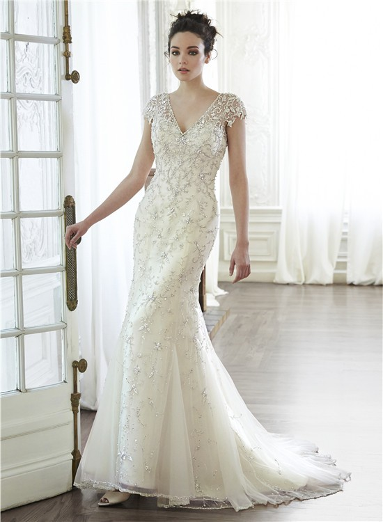 Gorgeous mermaid v neck cap sleeve low back embroidery for Beaded low back wedding dress